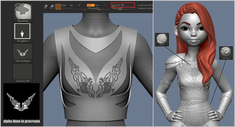3d properties character design warrior armour