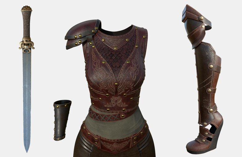 female armour detailing 3d sculpture