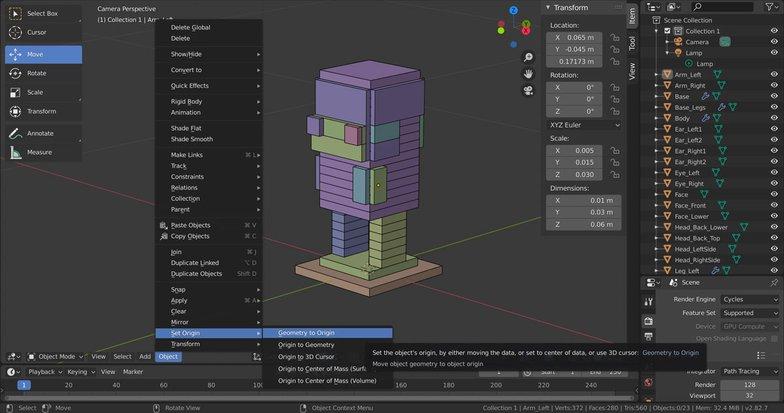 object origins 3d modelling