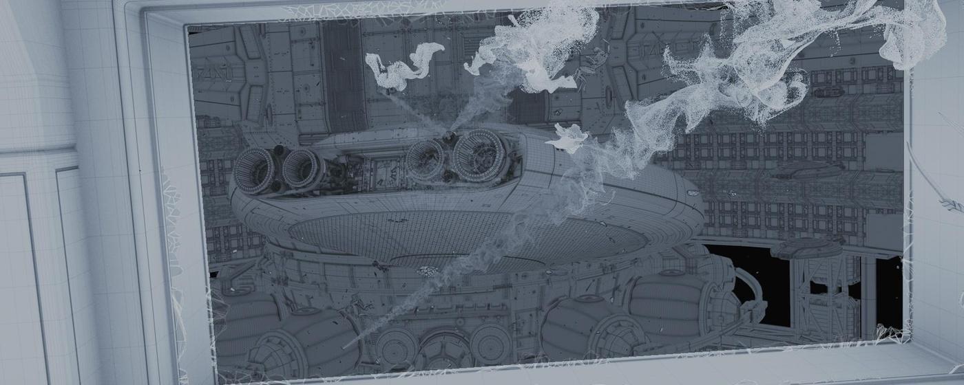 futuristic space battleship vfx render model