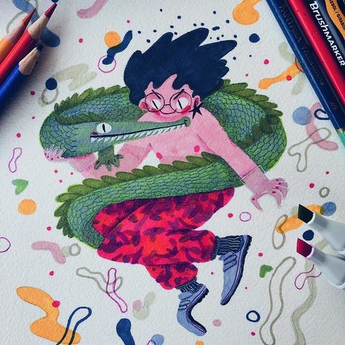 beatrice blue hand-drawn illustration