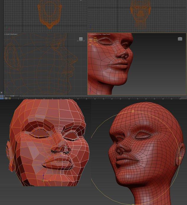 modeling, head, cube