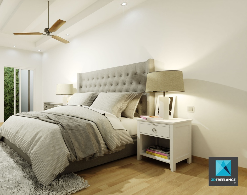 3d rendering of a bedroomby grégory chevalier