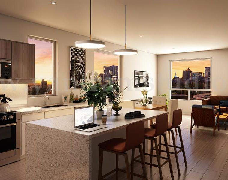 Decorative Kitchen Interior Design Rendering Service by Yantram Architectural Studio - France – Parisby Ruturaj Desai