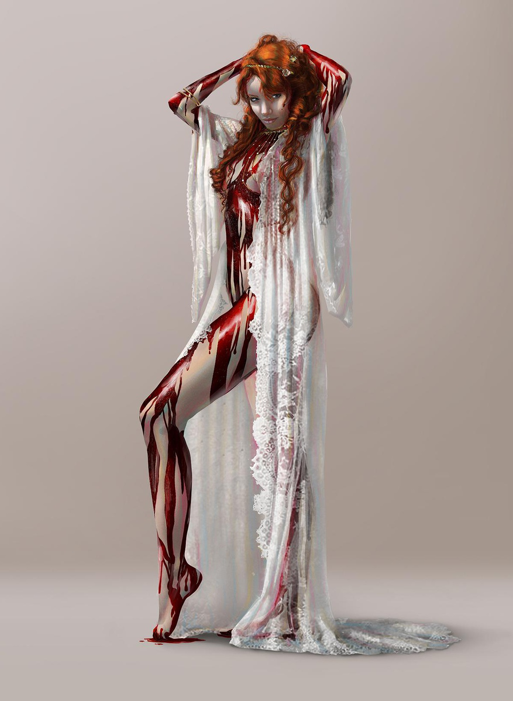 woman bleeding in white clothing