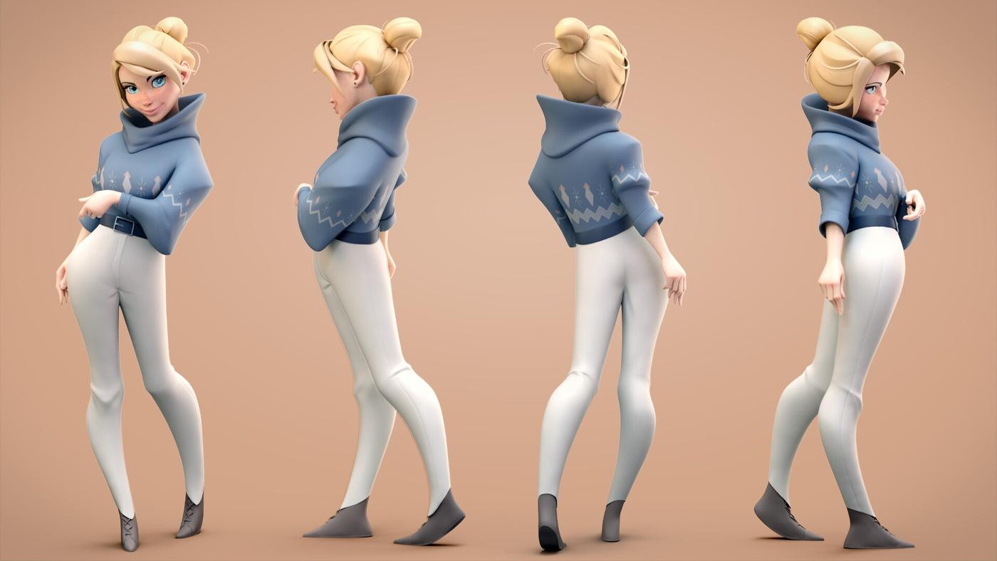 blonde woman 3d model character