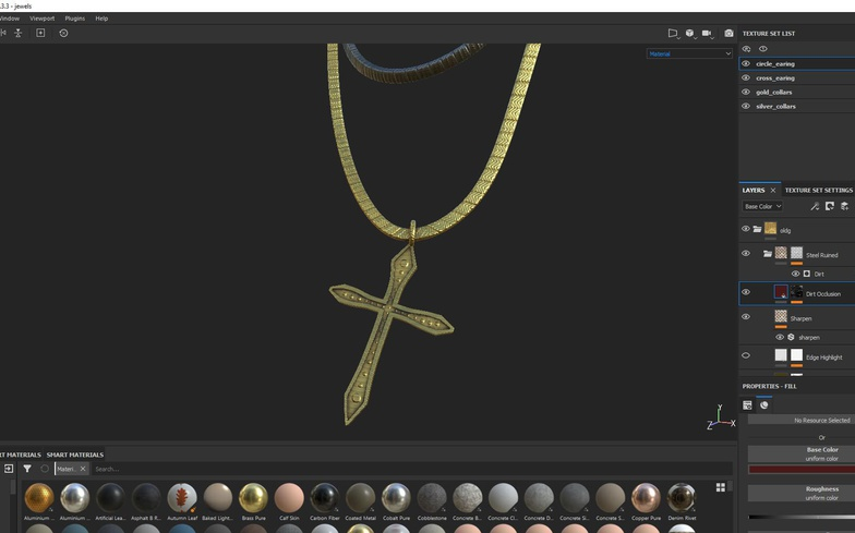 detailing metallic necklace 3d model render