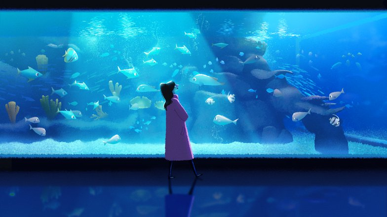 woman fish tank blues colour scheme digital art