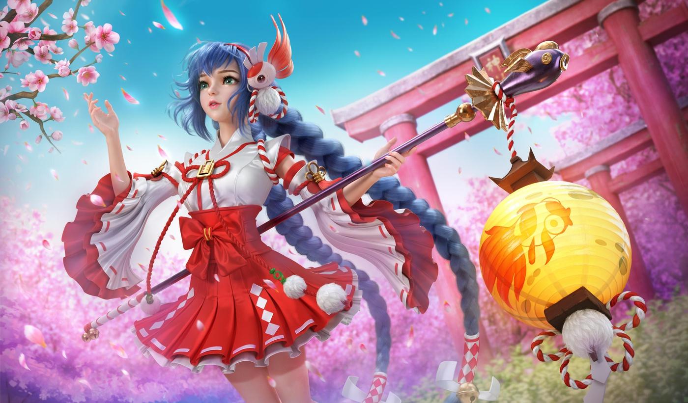 asian anime style character model render sakura flowers