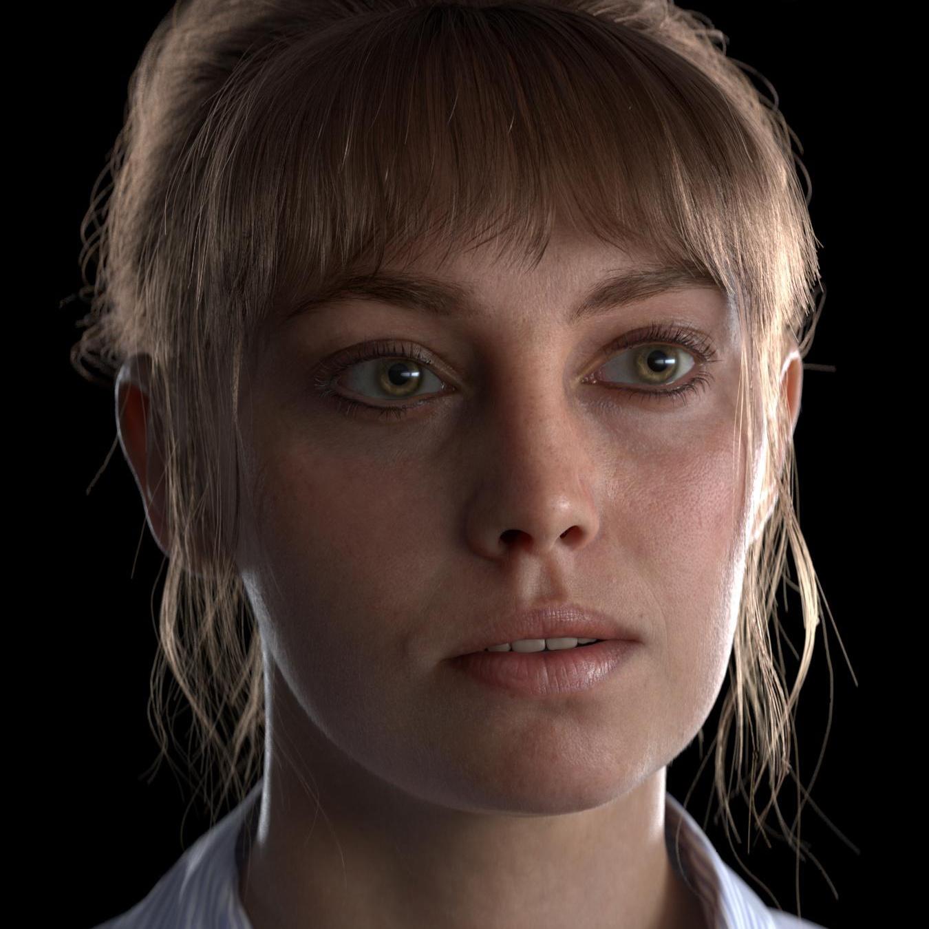 realistic close up model raw render no grading