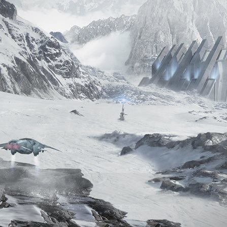 Juan Diaz environment concept snow planet scifi matte painting