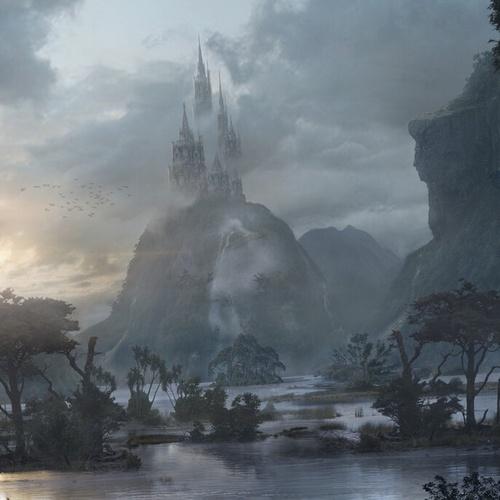 Juan Diaz environment concept fantasy lagoon castle matte painting