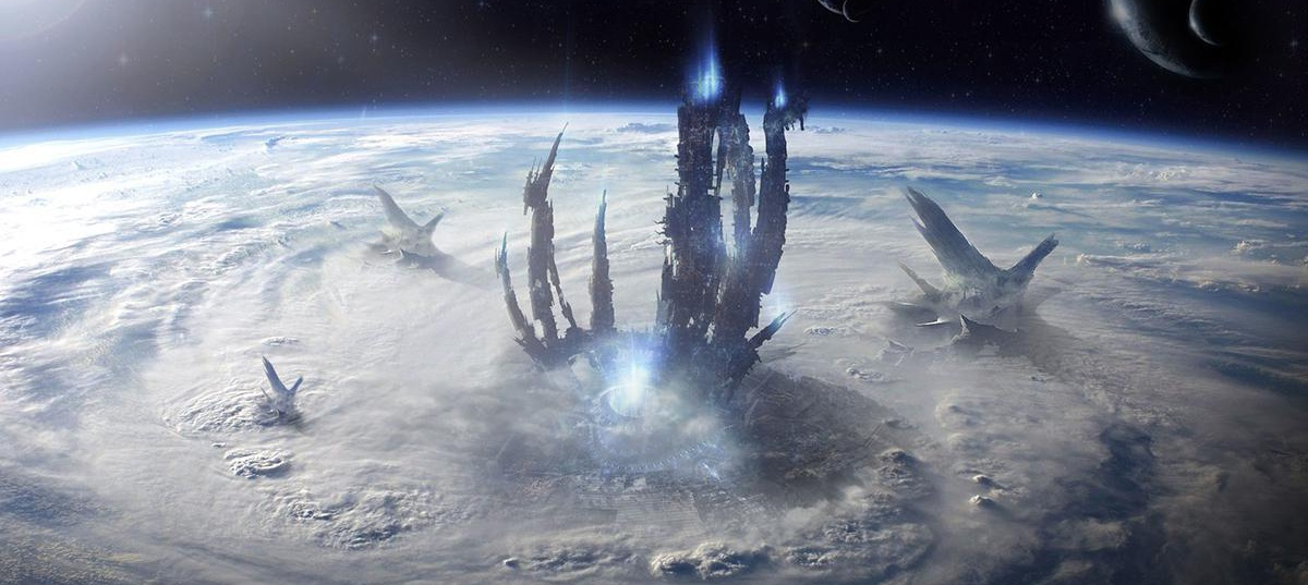 Juan Diaz environment concept spaceship Earth scifi matte painting