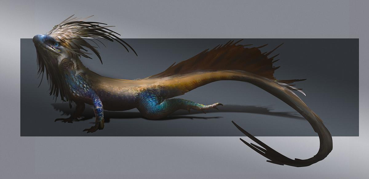 dragon lizard creature 2d illustration