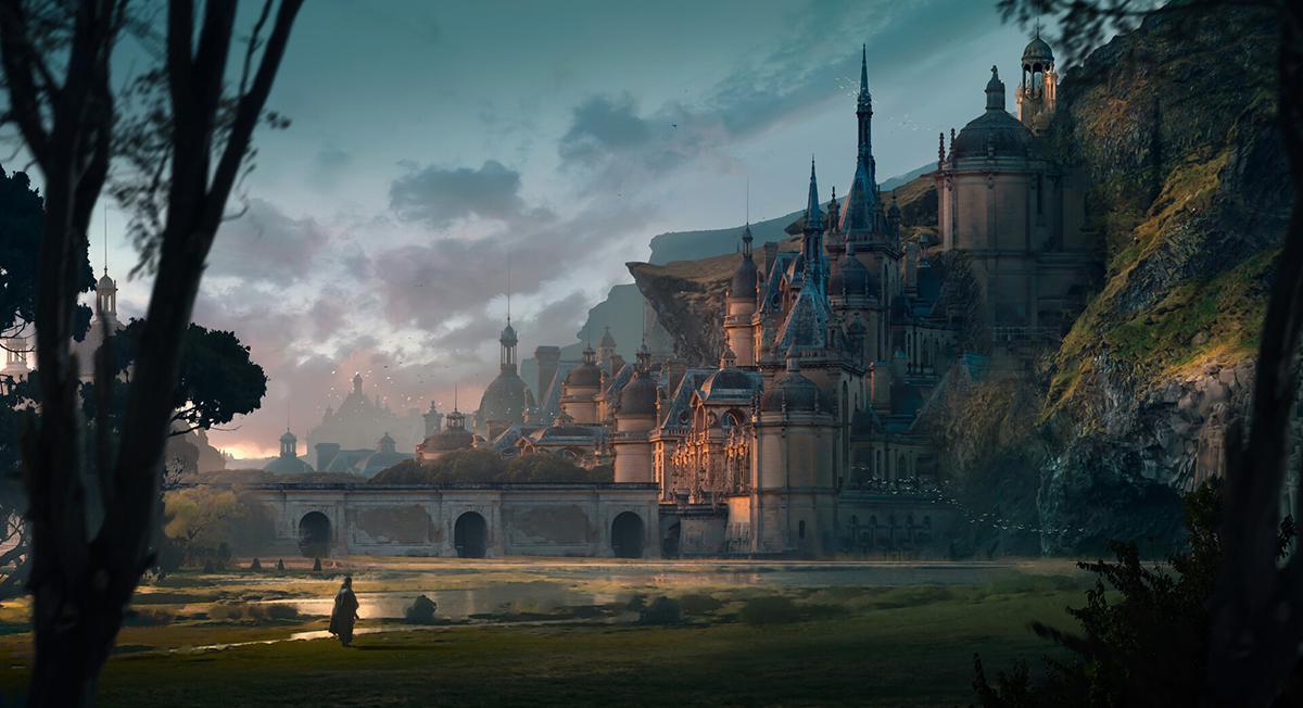 landscape concept art castle fantasy