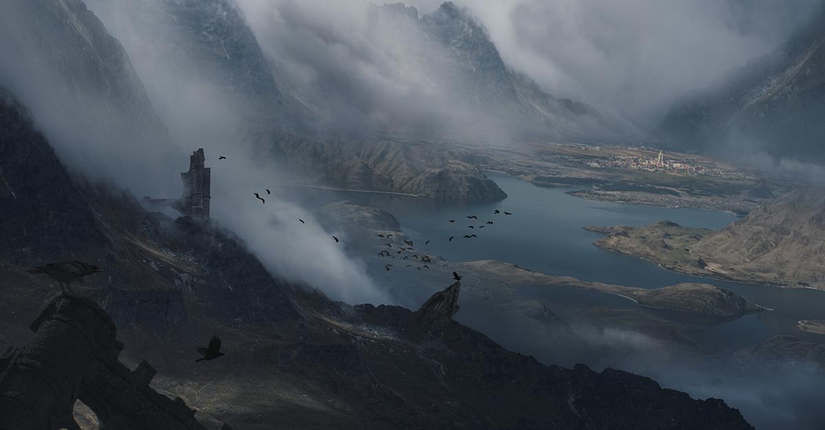 mountain scenery landscape 2d concept art