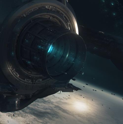 spaceship orbiting earth sci-fi art design