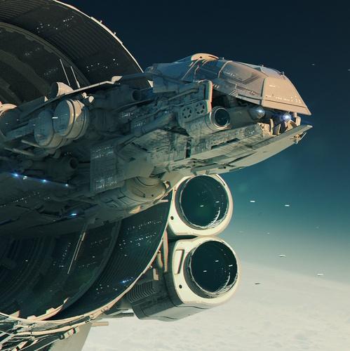 sci-fi spaceship concept art