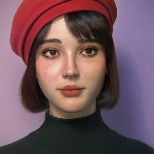 girl red hat 3d render model