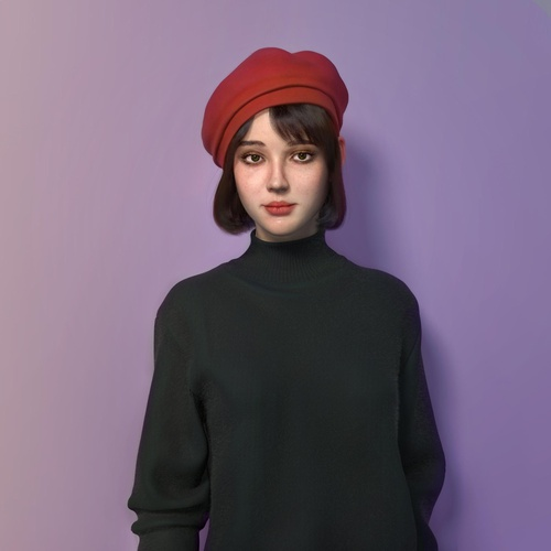brunette female character design