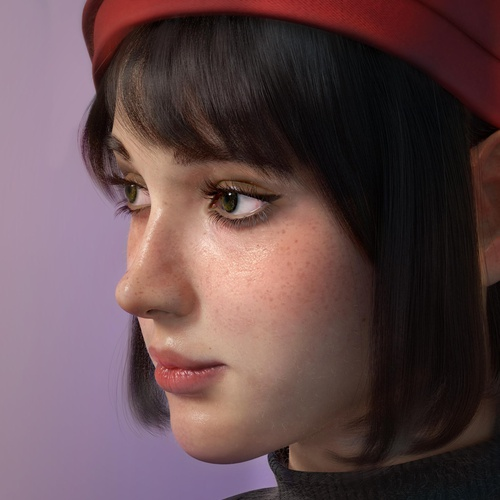 side profile realistic model 3d render female character design hat