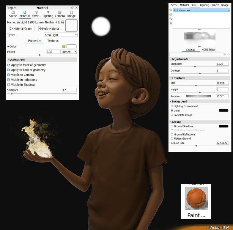 light emissive material lighting render character design 3d
