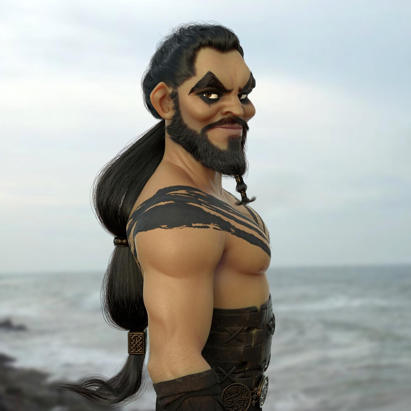 khal drogo game of thrones model stylised character design reneder