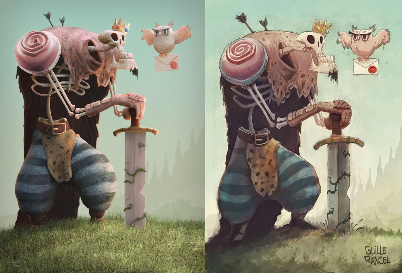 3d model stylised character compositing concept art