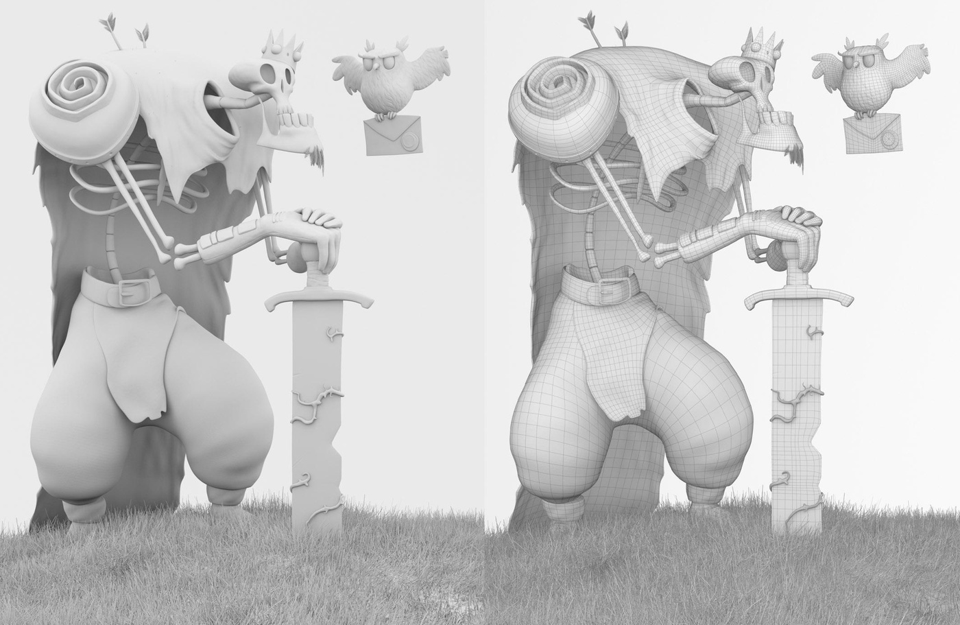 skelton character model design non-colour render model