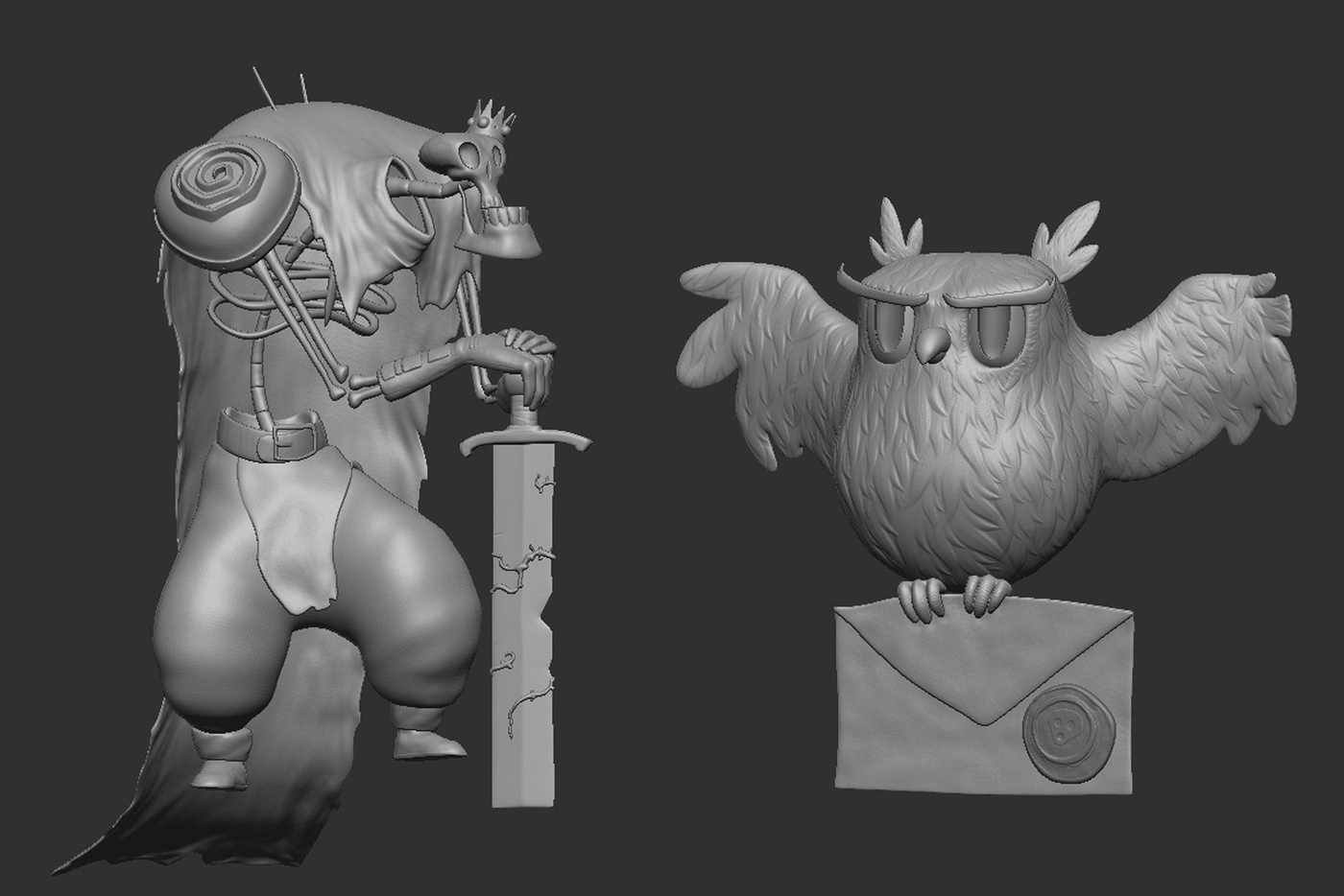 sculpting rendering uv model character design
