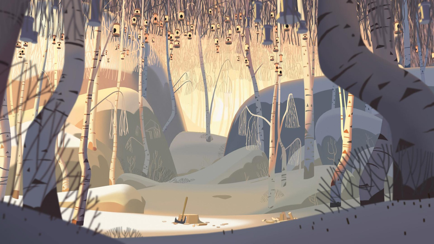 klaus fanart snow terrain 2d illustration trees nature
