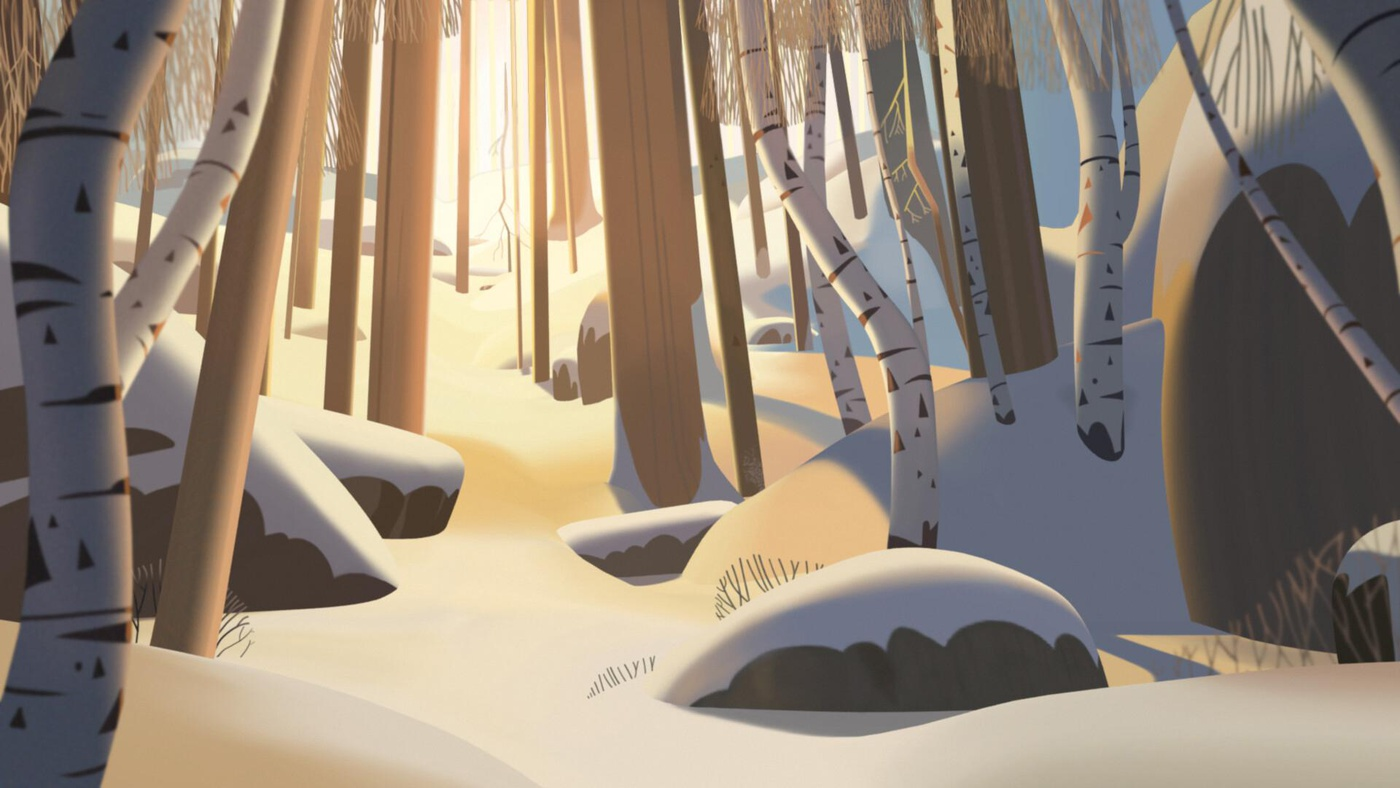 sunset klaus fanart snow terrain 2d illustration trees nature