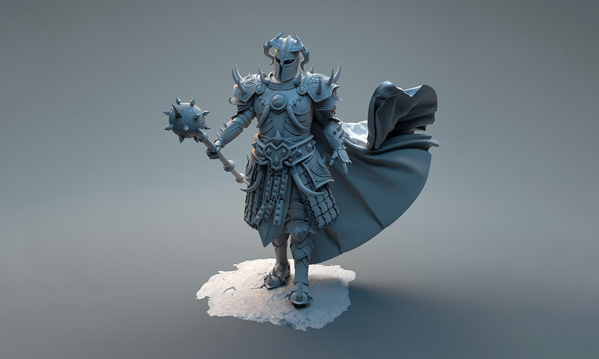 statue 3d render armoured knight battle clothing weaponry