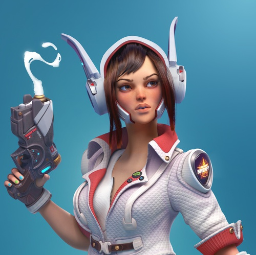 female futuristic police officer 3d character design