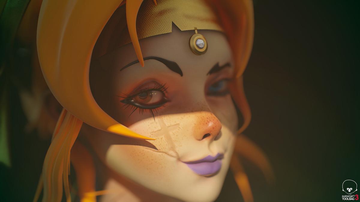 detailed 3d model female magical warrior