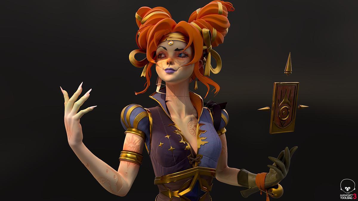 magical female character 3d model