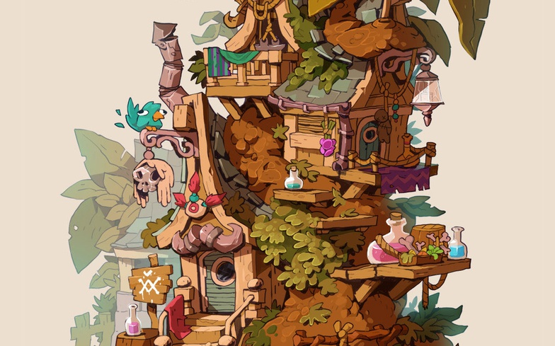 tree house, drawing, digital art, 2d, mexican