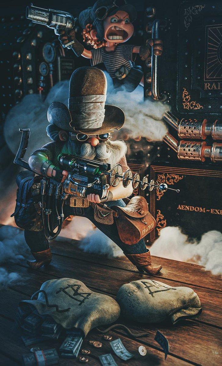 steampunk cowboy cowgirl 3d art