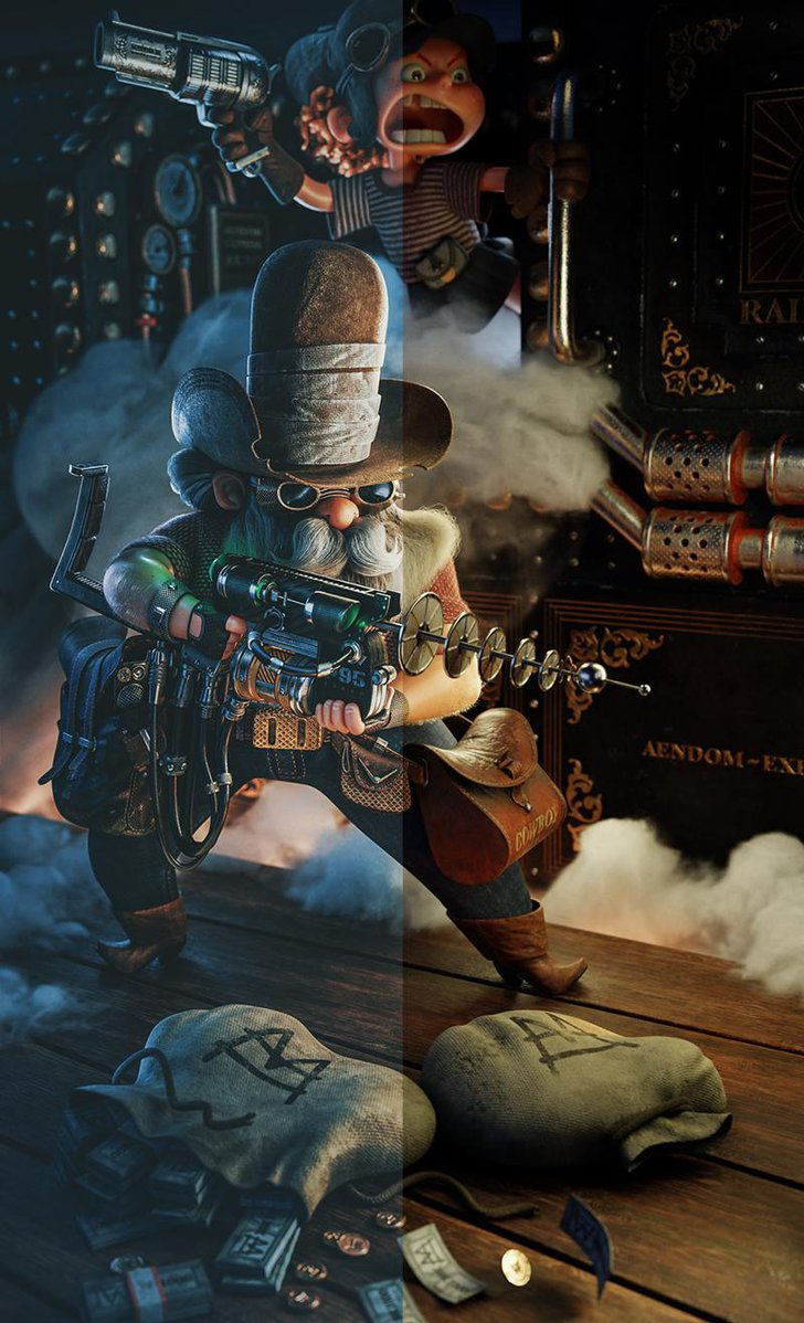 color grading cowboy steampunk 3d art