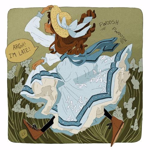 farmer girl in blue dress