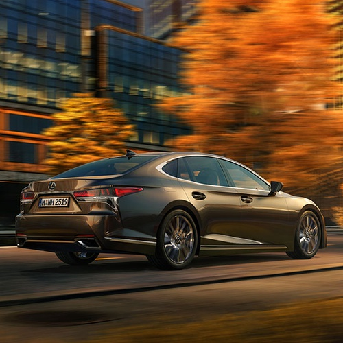 lexus in autumn city