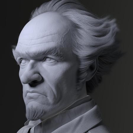 lighting model render 3d face shape sculpt lemony snicket character