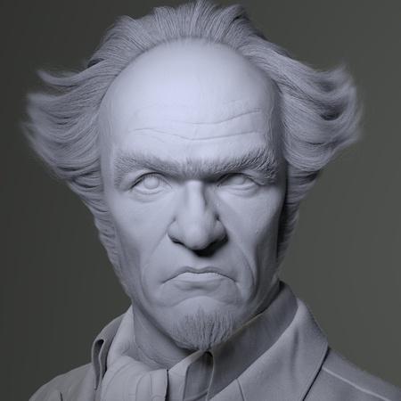 portrait lighting model render 3d face shape sculpt lemony snicket character