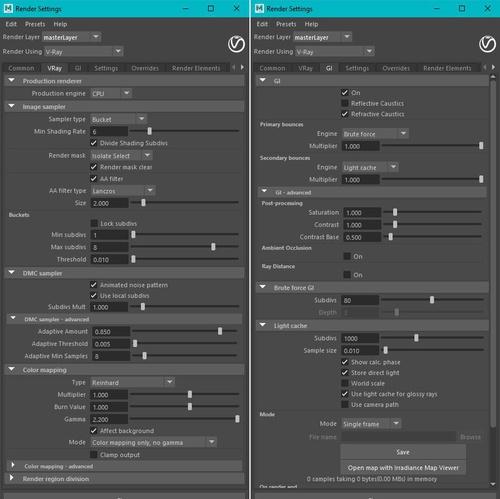V-Ray render optimization settings alterations