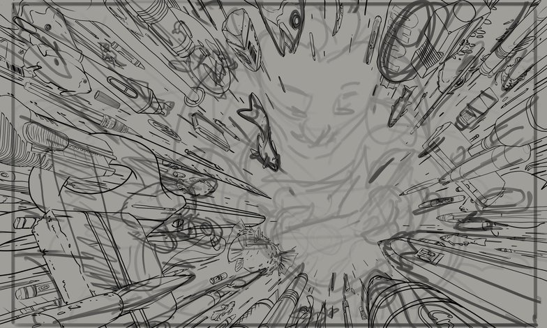 line art cleaning roughs superimposed imagery 2d