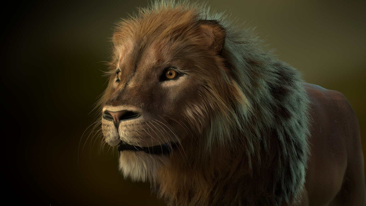 feline cat stylised furry animal  model render lion