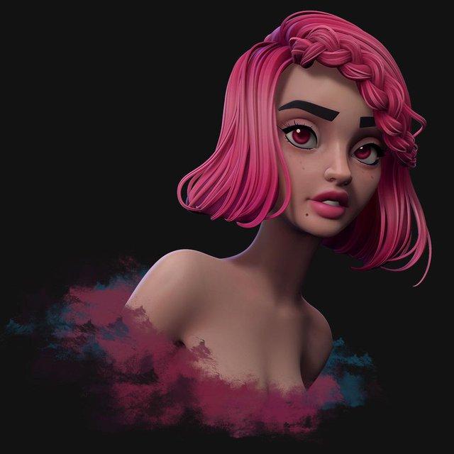lord girls danny mac pink hair girl 3d design