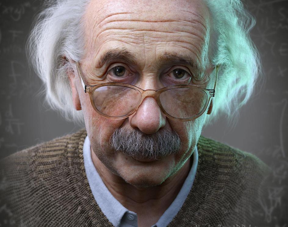 Albert Einstein 3D Portrait for a Hologramby Alexander Beim_LotusArt