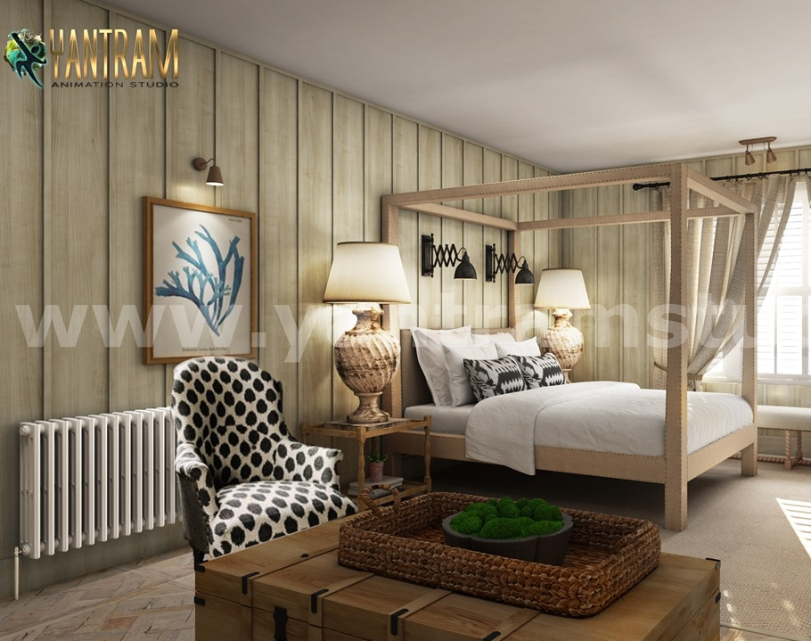 Luxurious Stylist Master Bedroom 3D Interior Modeling Concept by Architectural Rendering Company, New York—USAby Ruturaj Desai