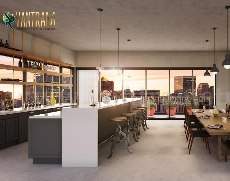 Innovative Club House 3D Interior Design Rendering Service by Yantram Architectural Visualization Studio, France – Parisby Ruturaj Desai